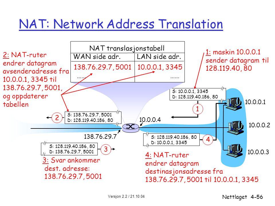 Versjon 2.2 / 21.10.04 Nettlaget4-56 NAT: Network Address Translation 10.0.0.1 10.0.0.2 10.0.0.3 S: 10.0.0.1, 3345 D: 128.119.40.186, 80 1 10.0.0.4 13