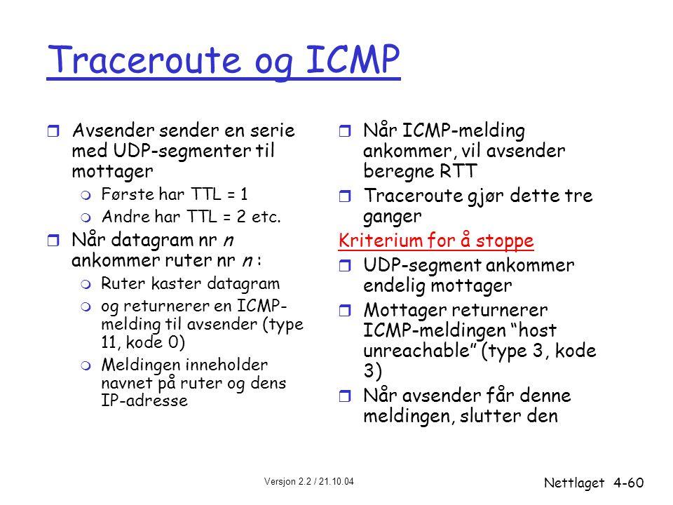 Versjon 2.2 / 21.10.04 Nettlaget4-60 Traceroute og ICMP r Avsender sender en serie med UDP-segmenter til mottager m Første har TTL = 1 m Andre har TTL
