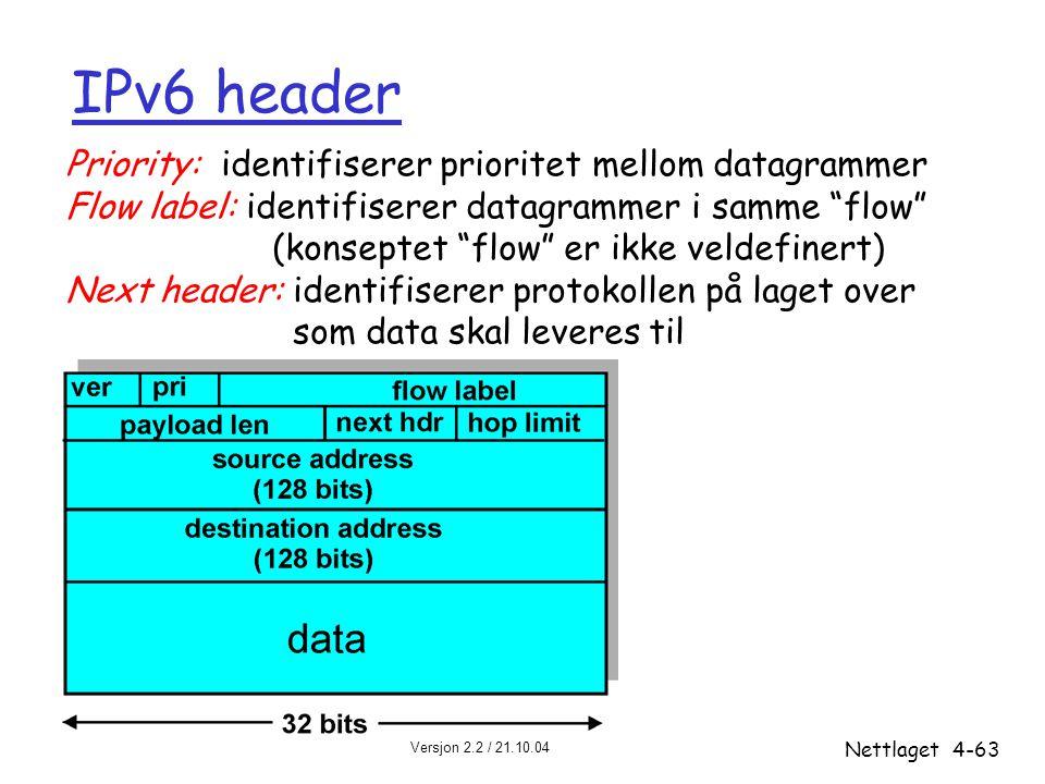 """Versjon 2.2 / 21.10.04 Nettlaget4-63 IPv6 header Priority: identifiserer prioritet mellom datagrammer Flow label: identifiserer datagrammer i samme """"f"""