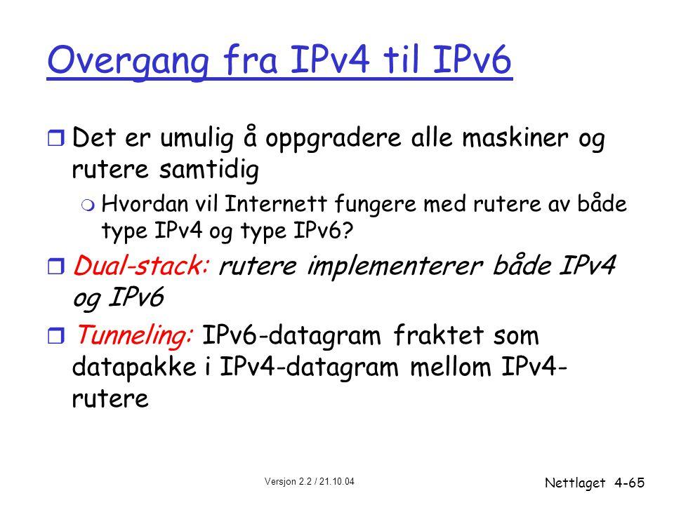 Versjon 2.2 / 21.10.04 Nettlaget4-65 Overgang fra IPv4 til IPv6 r Det er umulig å oppgradere alle maskiner og rutere samtidig m Hvordan vil Internett
