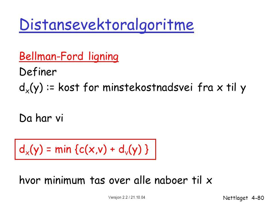 Versjon 2.2 / 21.10.04 Nettlaget4-80 Distansevektoralgoritme Bellman-Ford ligning Definer d x (y) := kost for minstekostnadsvei fra x til y Da har vi