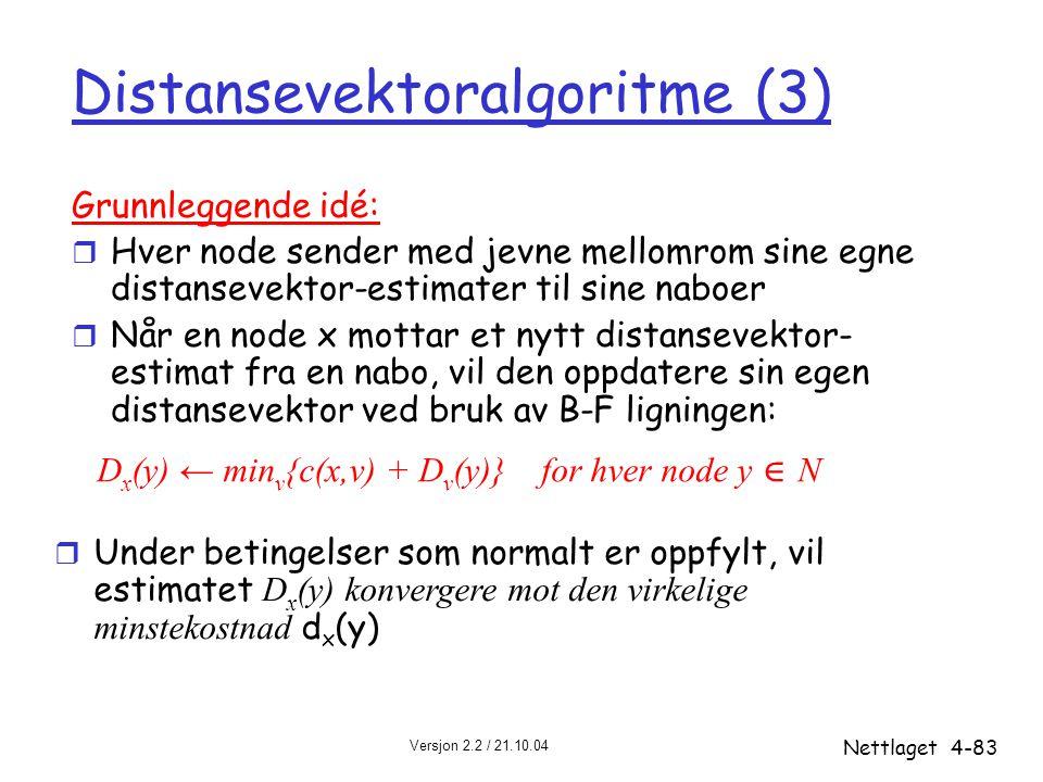 Versjon 2.2 / 21.10.04 Nettlaget4-83 Distansevektoralgoritme (3) Grunnleggende idé: r Hver node sender med jevne mellomrom sine egne distansevektor-es