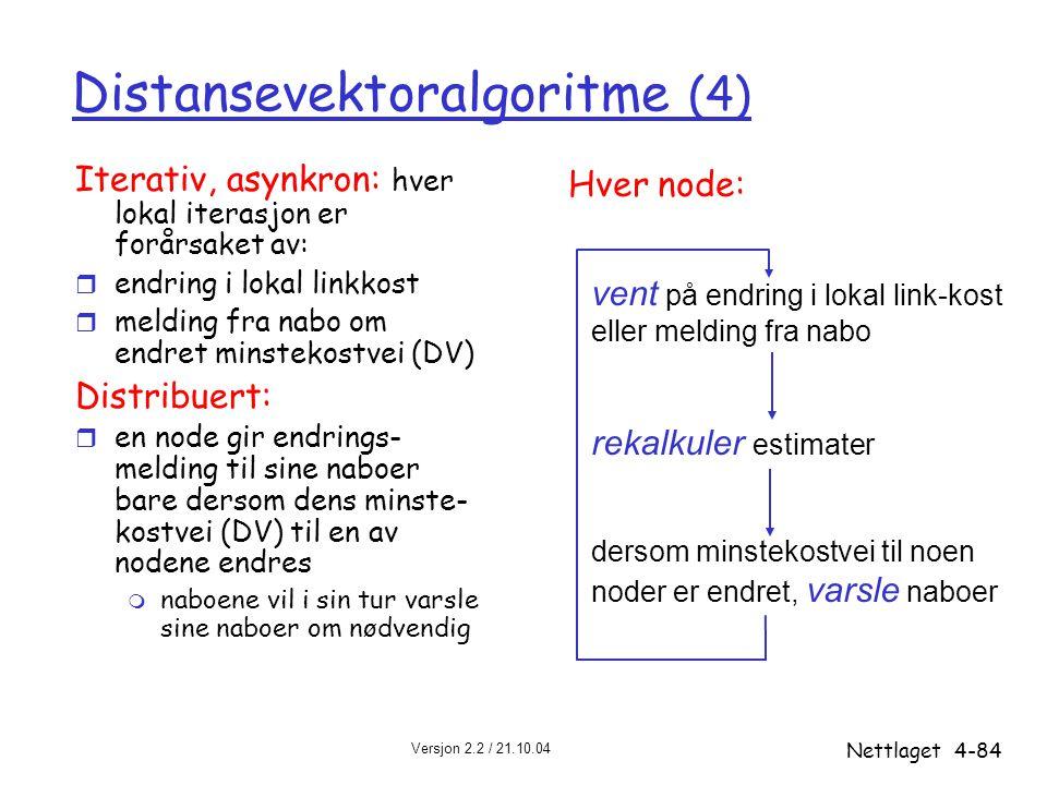 Versjon 2.2 / 21.10.04 Nettlaget4-84 Distansevektoralgoritme (4) Iterativ, asynkron: hver lokal iterasjon er forårsaket av: r endring i lokal linkkost