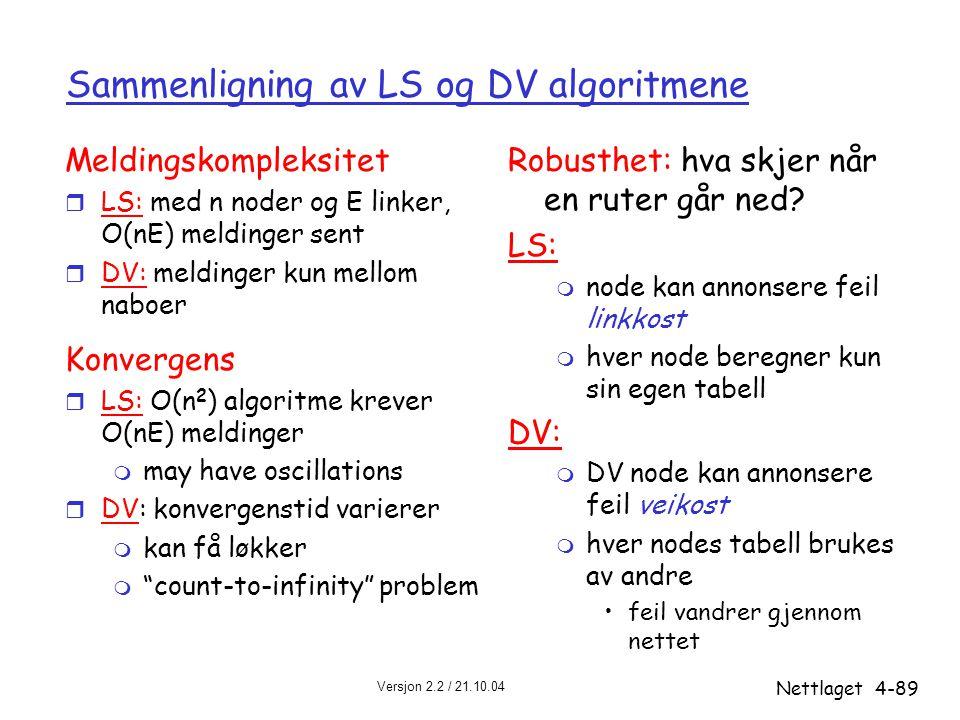 Versjon 2.2 / 21.10.04 Nettlaget4-89 Sammenligning av LS og DV algoritmene Meldingskompleksitet r LS: med n noder og E linker, O(nE) meldinger sent r