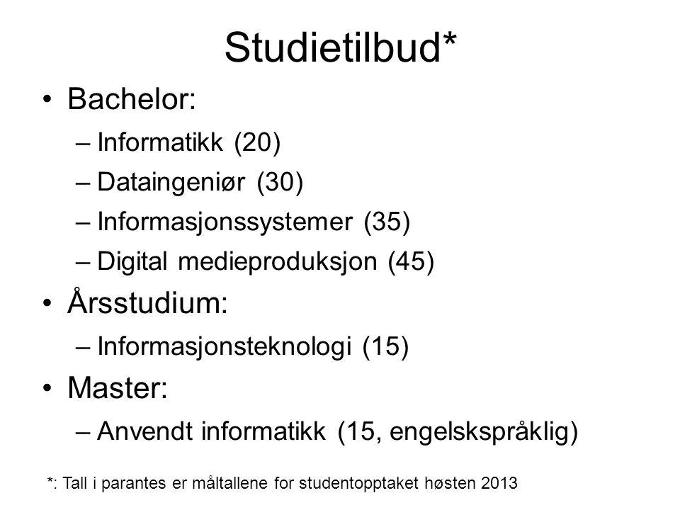 Søkertall for IT våren 2013, samordnet opptak Primærsøkere til bachelorstudier og årsstudiet (tall for 2012 og antall studieplasser i parantes): Dataingeniør 30 (44, 30) Digital medieproduksjon 63 (71, 45) Informatikk 40 (24, 20) Informasjonssystemer 42 (48, 35) Årsstudiet i IT 39 (25, 15) Sum primærsøkere 214 (212, 145)
