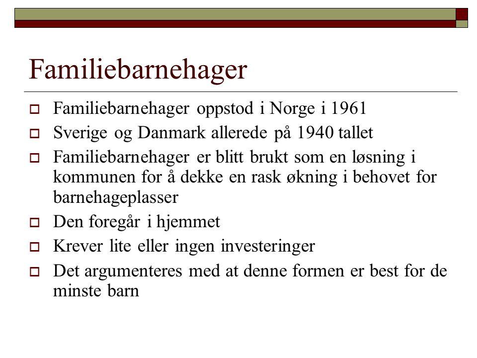 Familiebarnehager  Familiebarnehager oppstod i Norge i 1961  Sverige og Danmark allerede på 1940 tallet  Familiebarnehager er blitt brukt som en lø