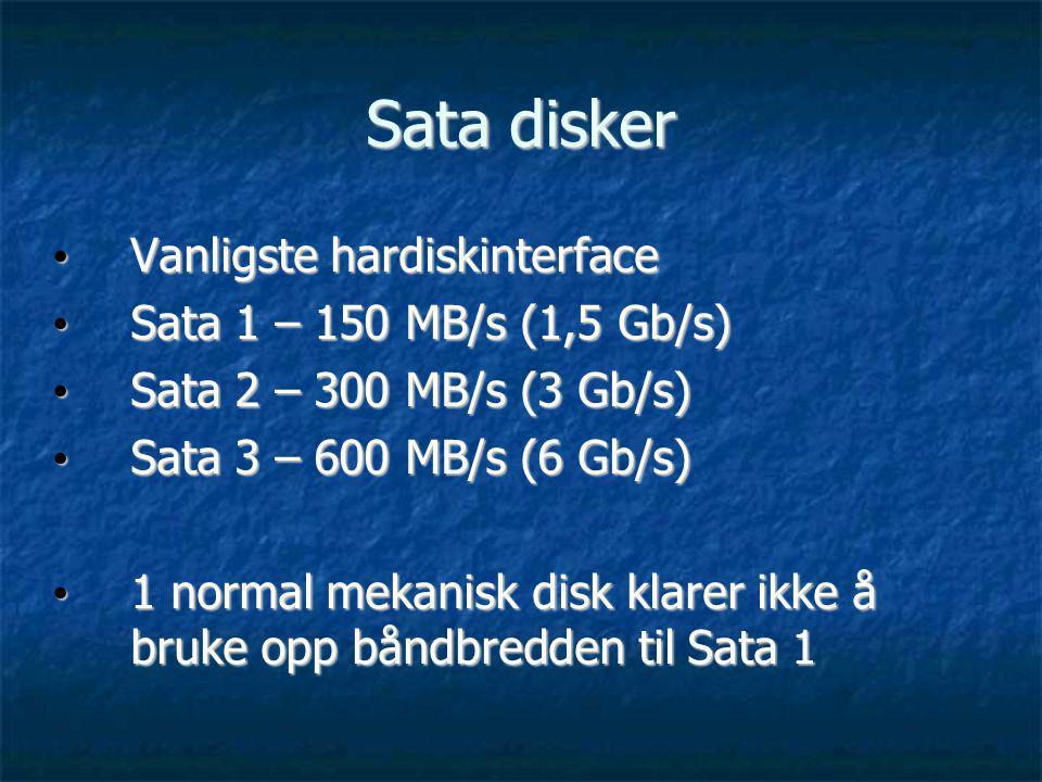 Enterprise kontra standard disker Enterprise disker: Enterprise disker: Raskere Raskere Mer pålitelig Mer pålitelig Lenger levetid Lenger levetid F.eks 10 eller 15 000 rpm