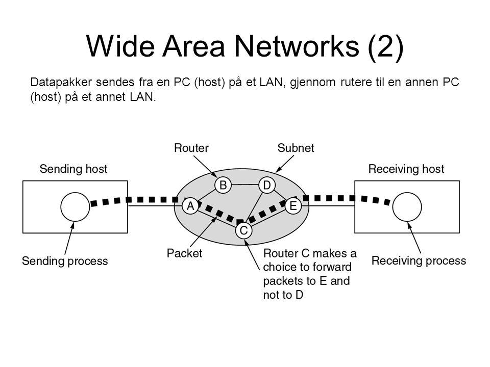 Wide Area Networks (2) Datapakker sendes fra en PC (host) på et LAN, gjennom rutere til en annen PC (host) på et annet LAN.