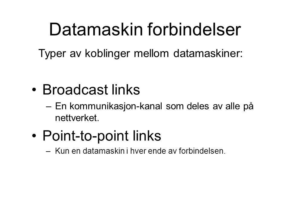 Datamaskin forbindelser Broadcast links –En kommunikasjon-kanal som deles av alle på nettverket.