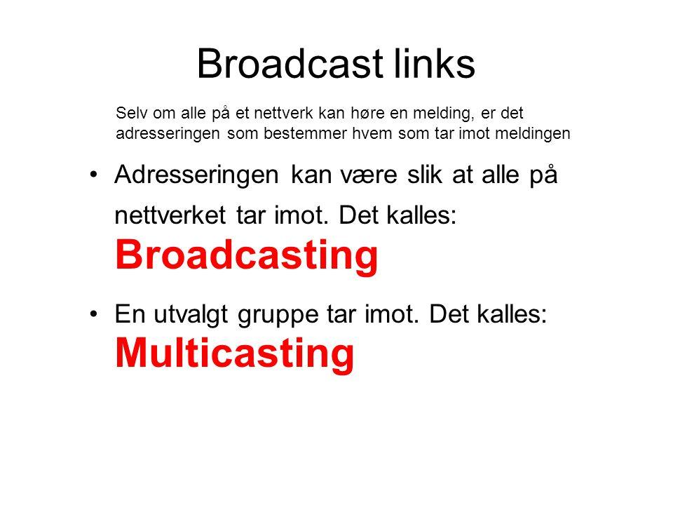 Broadcast links Adresseringen kan være slik at alle på nettverket tar imot.