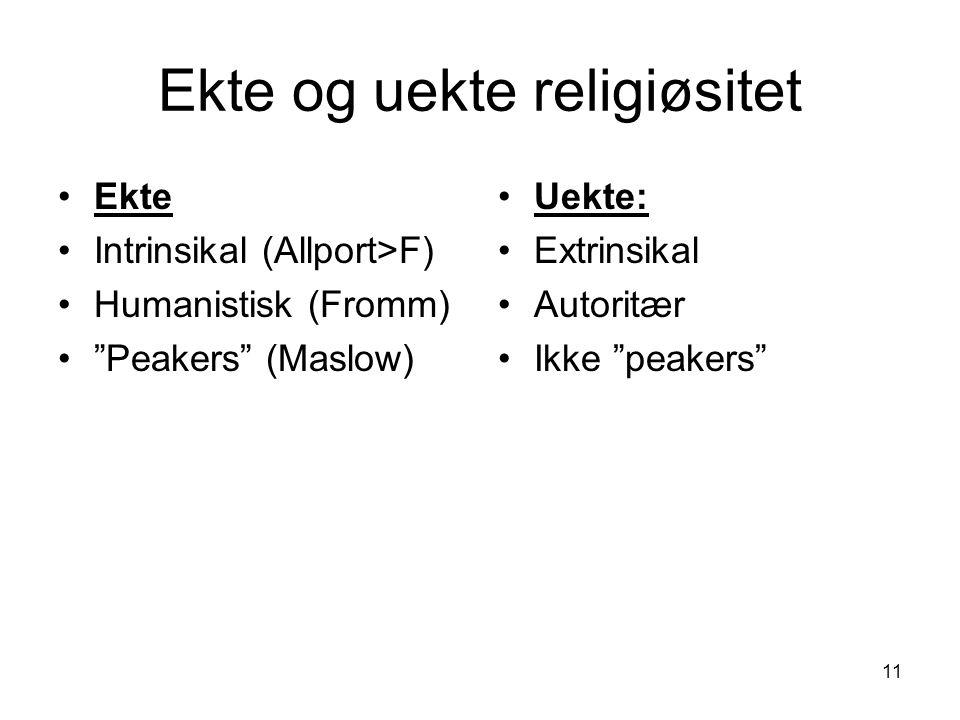 11 Ekte og uekte religiøsitet Ekte Intrinsikal (Allport>F) Humanistisk (Fromm) Peakers (Maslow) Uekte: Extrinsikal Autoritær Ikke peakers