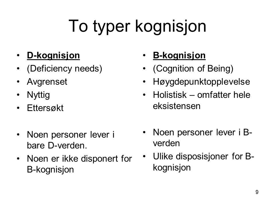 9 To typer kognisjon D-kognisjon (Deficiency needs) Avgrenset Nyttig Ettersøkt Noen personer lever i bare D-verden.