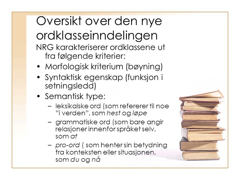 Oversikt over den nye ordklasseinndelingen NRG karakteriserer ordklassene ut fra følgende kriterier: Morfologisk kriterium (bøyning) Syntaktisk egensk