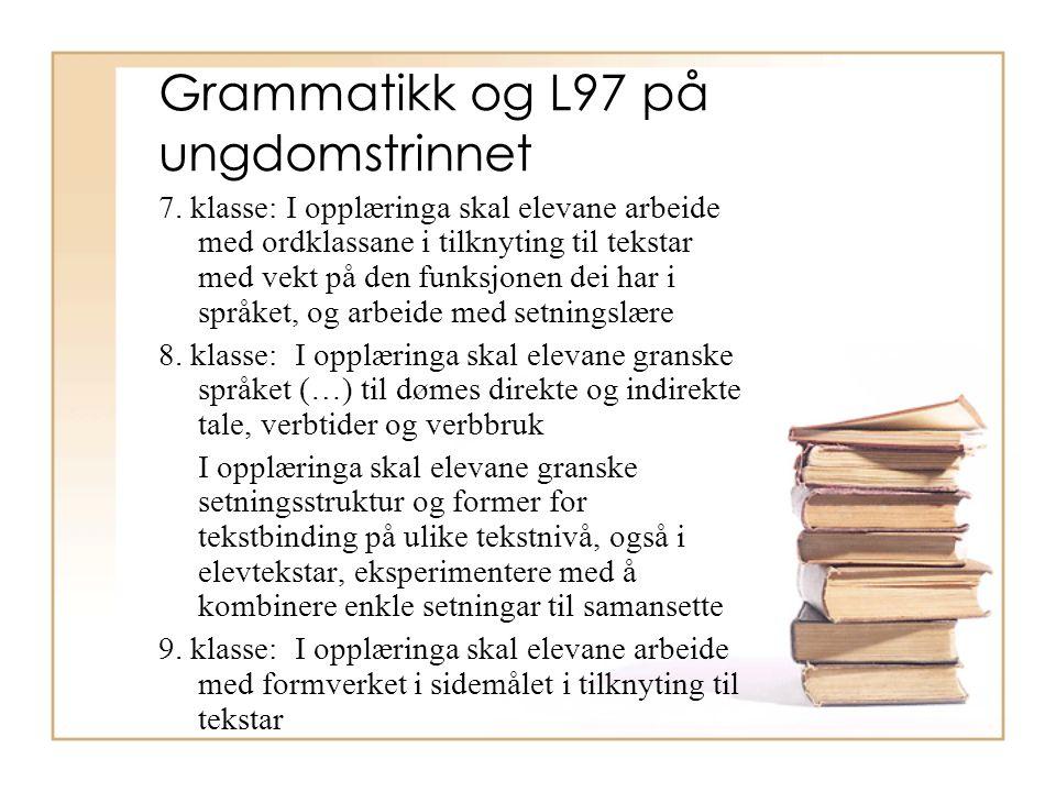 Hvorfor ny ordklasseinndeling Helt siden skolegrammatikkens ordklasseinndeling på slutten av 1700-tallet ble slik vi kjenner den i dag, har det stadig kommet forslag om alternative oppstillinger.