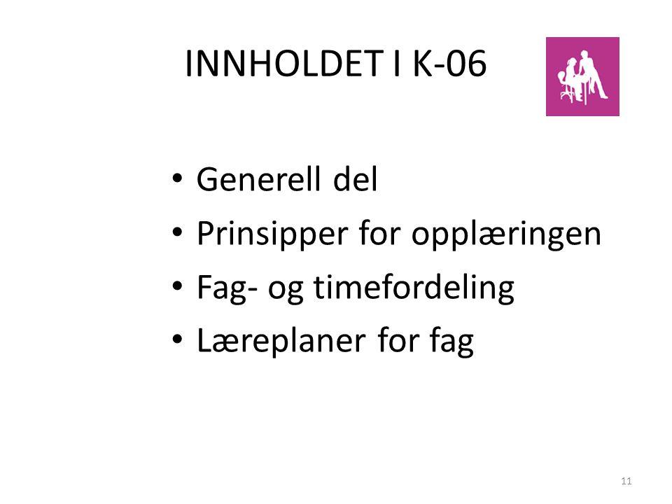11 INNHOLDET I K-06 Generell del Prinsipper for opplæringen Fag- og timefordeling Læreplaner for fag