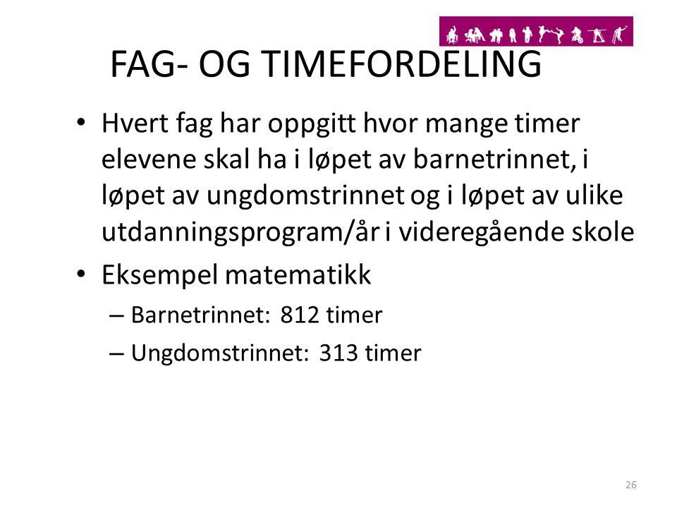 FAG- OG TIMEFORDELING Hvert fag har oppgitt hvor mange timer elevene skal ha i løpet av barnetrinnet, i løpet av ungdomstrinnet og i løpet av ulike ut