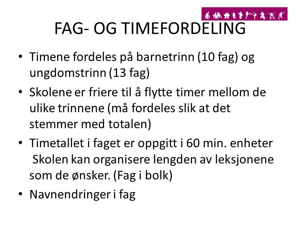FAG- OG TIMEFORDELING Timene fordeles på barnetrinn (10 fag) og ungdomstrinn (13 fag) Skolene er friere til å flytte timer mellom de ulike trinnene (m