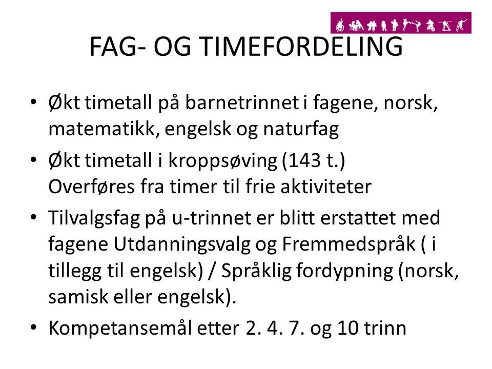 FAG- OG TIMEFORDELING Økt timetall på barnetrinnet i fagene, norsk, matematikk, engelsk og naturfag Økt timetall i kroppsøving (143 t.) Overføres fra