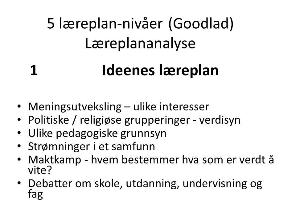 5 læreplan-nivåer (Goodlad) Læreplananalyse 1 Ideenes læreplan Meningsutveksling – ulike interesser Politiske / religiøse grupperinger - verdisyn Ulik