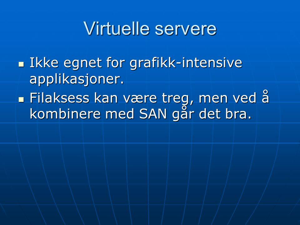 Virtuelle servere Ikke egnet for grafikk-intensive applikasjoner.
