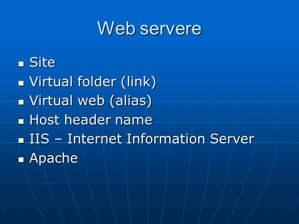 Web servere Site Site Virtual folder (link) Virtual folder (link) Virtual web (alias) Virtual web (alias) Host header name Host header name IIS – Internet Information Server IIS – Internet Information Server Apache Apache