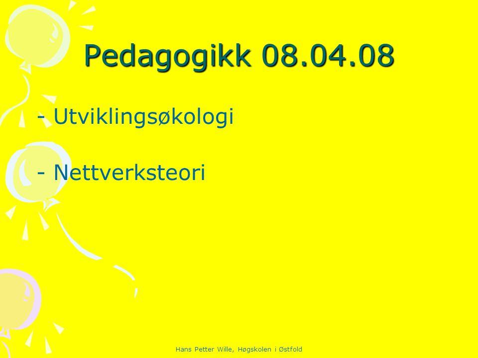 Hans Petter Wille, Høgskolen i Østfold Pedagogikk 08.04.08 - Utviklingsøkologi - Nettverksteori