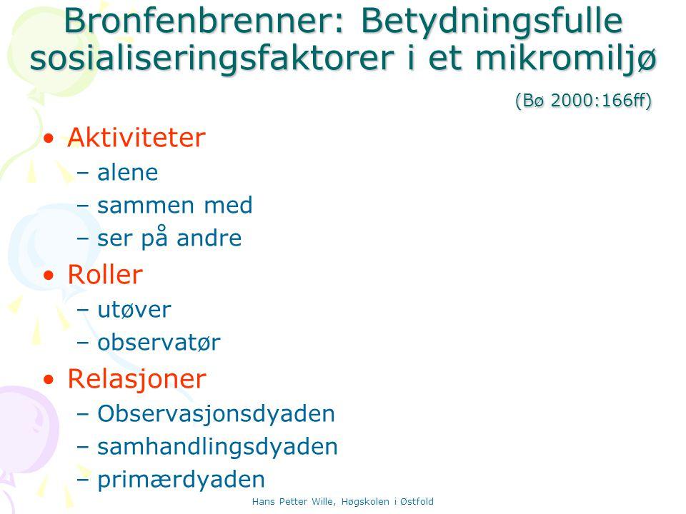 Hans Petter Wille, Høgskolen i Østfold Bronfenbrenner: Betydningsfulle sosialiseringsfaktorer i et mikromiljø (Bø 2000:166ff) Aktiviteter –alene –samm