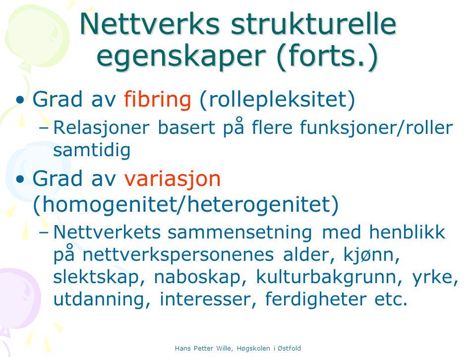 Hans Petter Wille, Høgskolen i Østfold Nettverks strukturelle egenskaper (forts.) Grad av fibring (rollepleksitet) –Relasjoner basert på flere funksjo