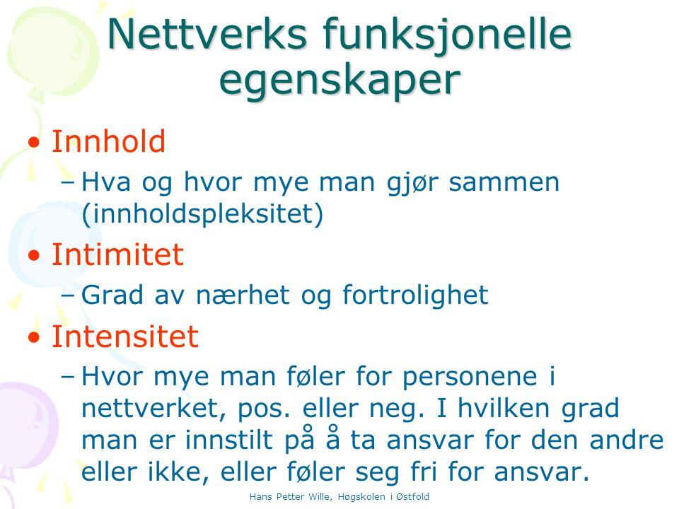 Hans Petter Wille, Høgskolen i Østfold Nettverks funksjonelle egenskaper Innhold –Hva og hvor mye man gjør sammen (innholdspleksitet) Intimitet –Grad