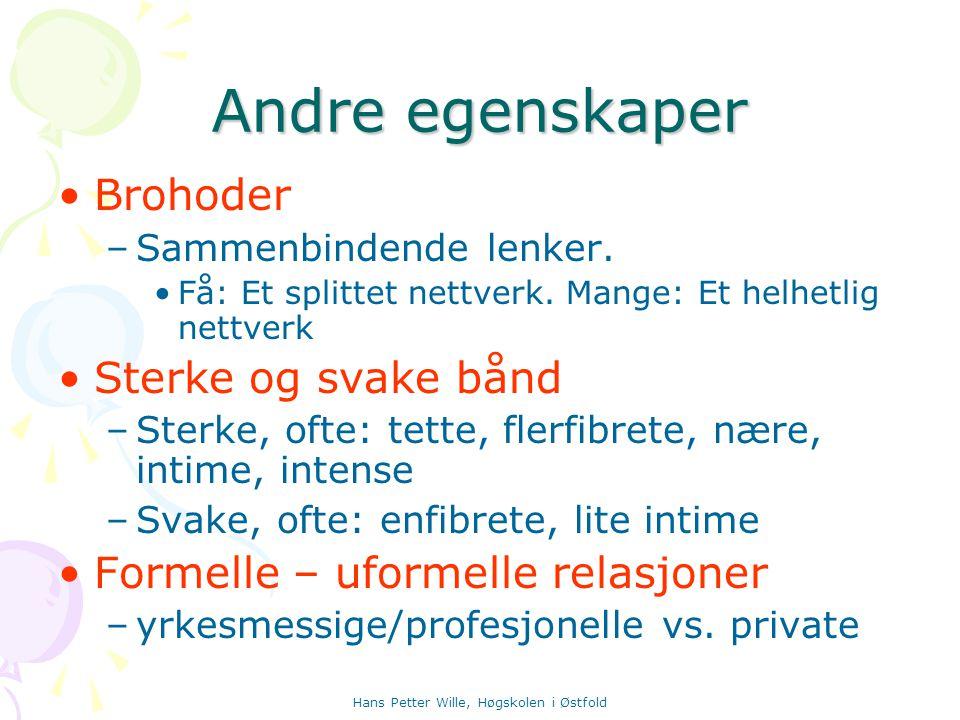 Hans Petter Wille, Høgskolen i Østfold Andre egenskaper Brohoder –S–Sammenbindende lenker. Få: Et splittet nettverk. Mange: Et helhetlig nettverk Ster