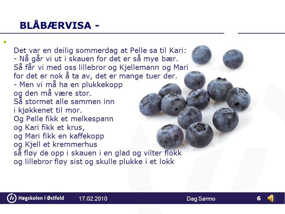 BLÅBÆRVISA - Det var en deilig sommerdag at Pelle sa til Kari: - Nå går vi ut i skauen for det er så mye bær.