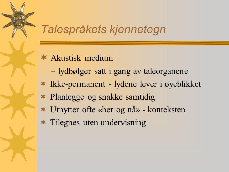 Roman Jakobsens modell  Grunnelementer: Noen ( jeg ) snakker med noen ( du ) om noe ( det ) ved hjelp av språk (snakkeboble)  Seks språkfunksjoner bygd på hvilke grunnelementer som har hovedfokus