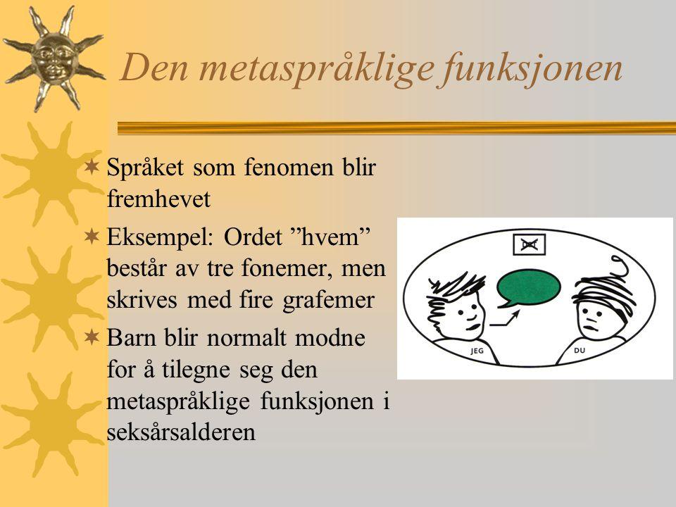 Den metaspråklige funksjonen  Språket som fenomen blir fremhevet  Eksempel: Ordet hvem består av tre fonemer, men skrives med fire grafemer  Barn blir normalt modne for å tilegne seg den metaspråklige funksjonen i seksårsalderen