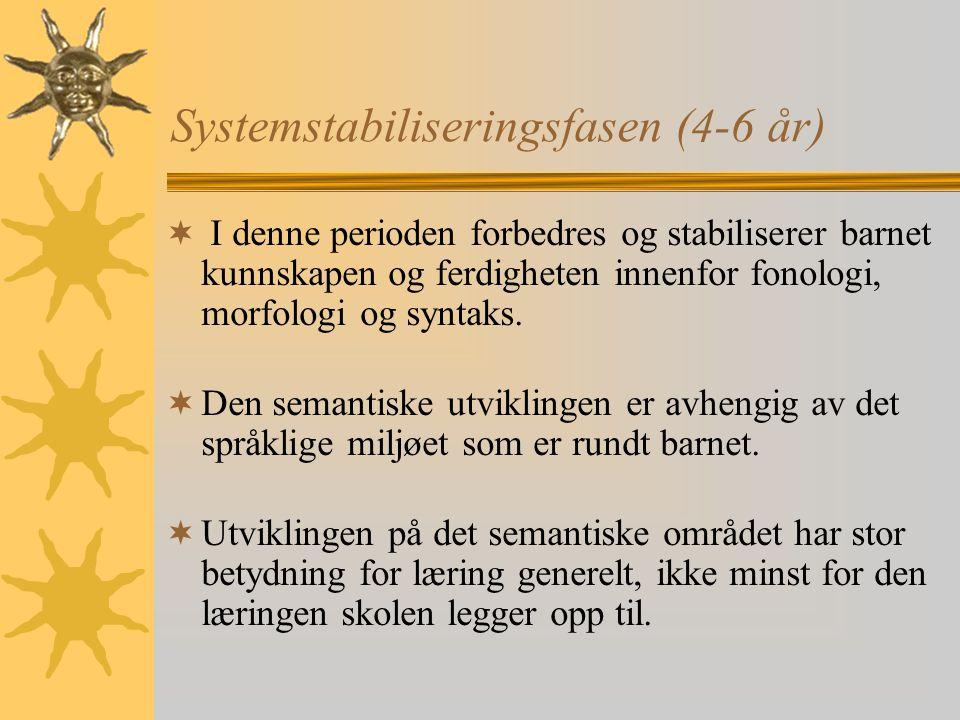 Systemstabiliseringsfasen (4-6 år)  I denne perioden forbedres og stabiliserer barnet kunnskapen og ferdigheten innenfor fonologi, morfologi og syntaks.
