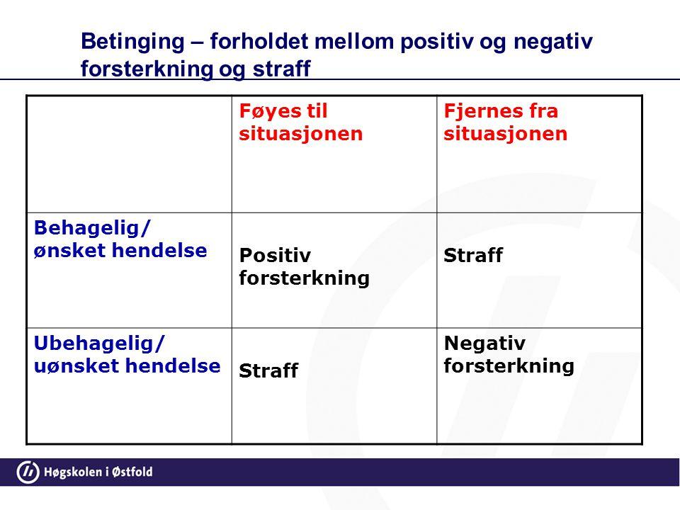 Forsterkning: - alle konsekvenser av en handling som gjør det mer sannsynlig at handlingen gjentas 21 Magne Jensen 2008