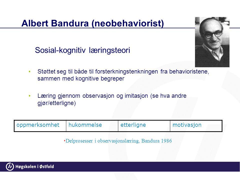 Bandura: Sosial-kognitiv læringsteori Modellæring vil si at man kan lære av å se på andres handlinger og hvilke konsekvenser det får for dem. Hvis man