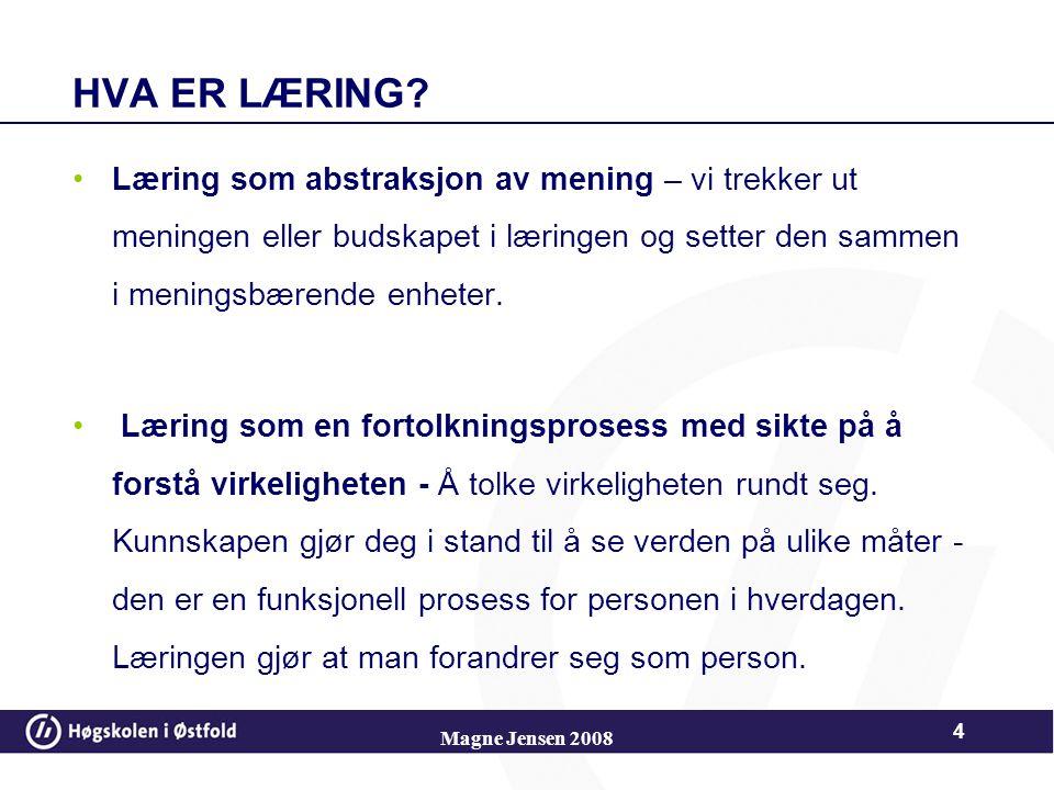 Magne Jensen 2008 44 Figurativ kunnskap Figurativ kunnskap – statisk kunnskap: Blir tilegnet direkte gjennom fysisk læring, omfatter hvordan ting ser ut.