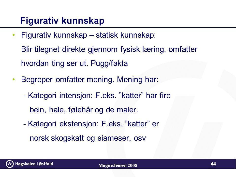Magne Jensen 2008 43 Piagets kunnskapssyn Figurativ kunnskap –Isolerte fysiske fakta og detaljer - blir lagret i hukommelsen Operativ kunnskap –Strukt