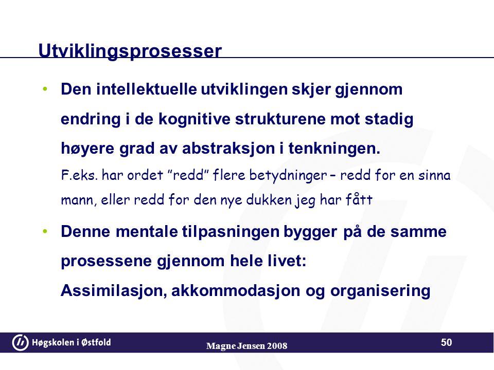 Magne Jensen 2008 49 Disse holder holder orden på tankeinnholdet og mentale handlinger, på endringer som forekommer ved økt grad av abstraksjon. Handl