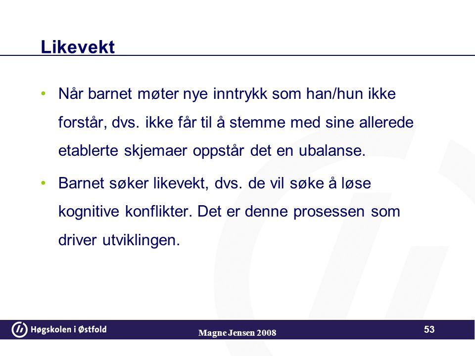 Magne Jensen 2008 52 Akkommodasjon – endrer/tilpasser skjemaene. Dette er nødvendig for å utvikle kunnskap og nye handlinger. Ex. Esset i kortstokken