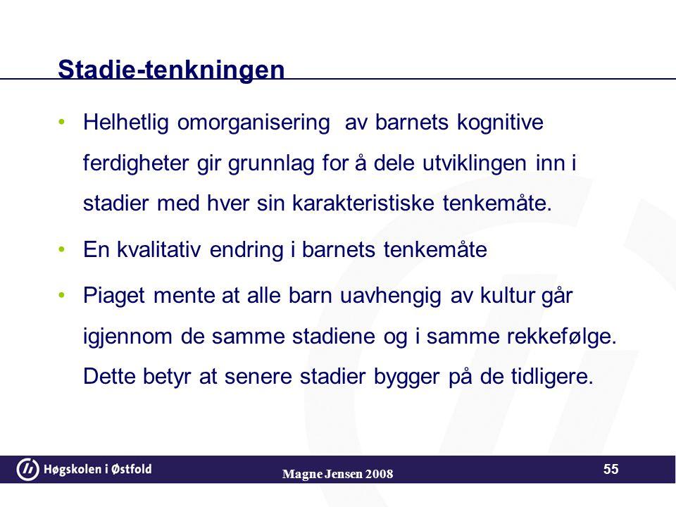 Magne Jensen 2008 54 Utviklingsprosessen Ubalansen – kan oppstå spontant ut fra biologisk modning eller erfaring Ut fra sin medfødte trang til indre l