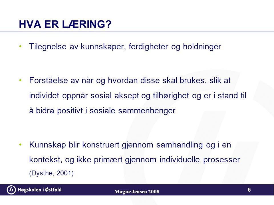 Magne Jensen 2008 46 SKJEMA Piaget skiller mellom 3 ulike typer skjema Handlingsskjema Symbolske skjema Operasjonelle skjema Barnets utviklingsnivå bestemmer hvilke typer skjema barnet kan ha