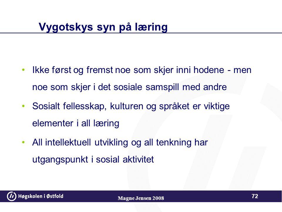 Magne Jensen 2008 71 Lev Vygotsky Hører til blant de kognitive læringspsykologene Betegnes som en tilhenger av sosial kostruktivisme: –Kunnskap utvikl