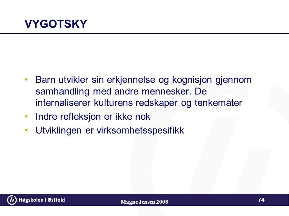 Vygotskys proksimale sone Grense for prestasjon med hjelp Grense for prestasjon uten hjelp Proksimal sone 73 Magne Jensen 2008