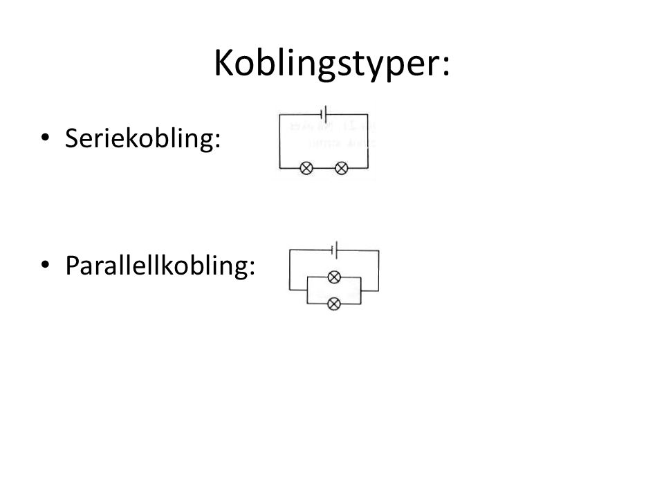 Koblingstyper: Seriekobling: Parallellkobling: