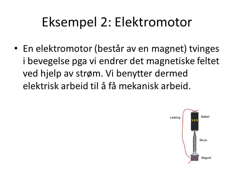 Eksempel 2: Elektromotor En elektromotor (består av en magnet) tvinges i bevegelse pga vi endrer det magnetiske feltet ved hjelp av strøm. Vi benytter
