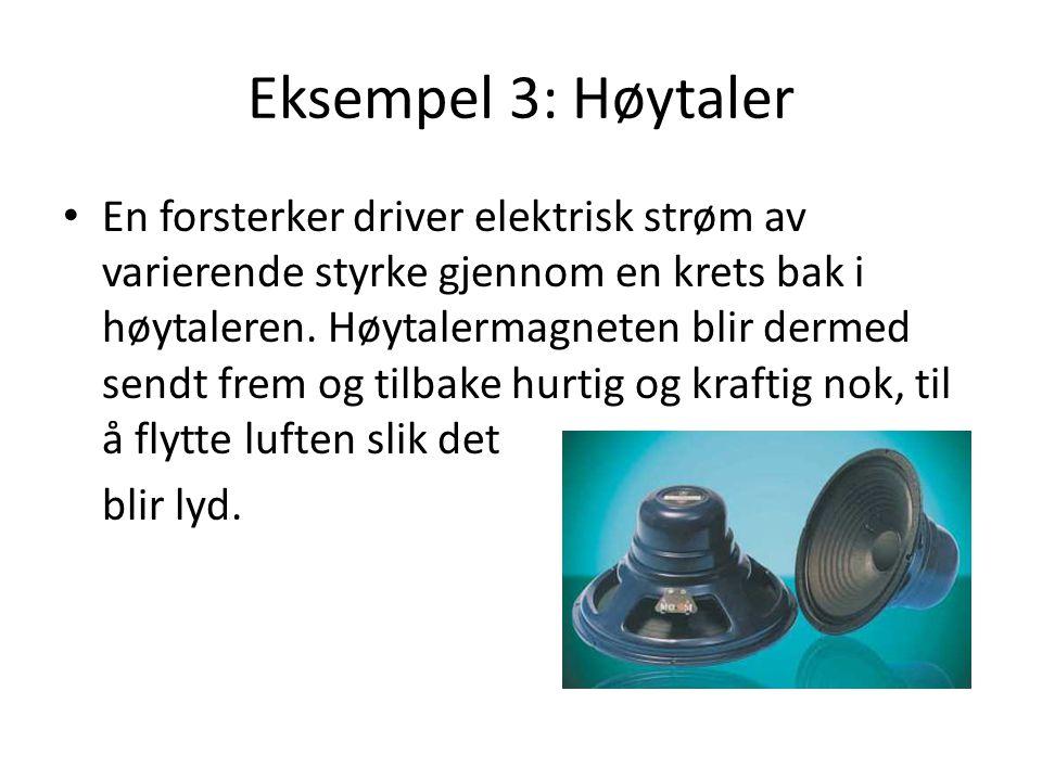 Eksempel 3: Høytaler En forsterker driver elektrisk strøm av varierende styrke gjennom en krets bak i høytaleren. Høytalermagneten blir dermed sendt f