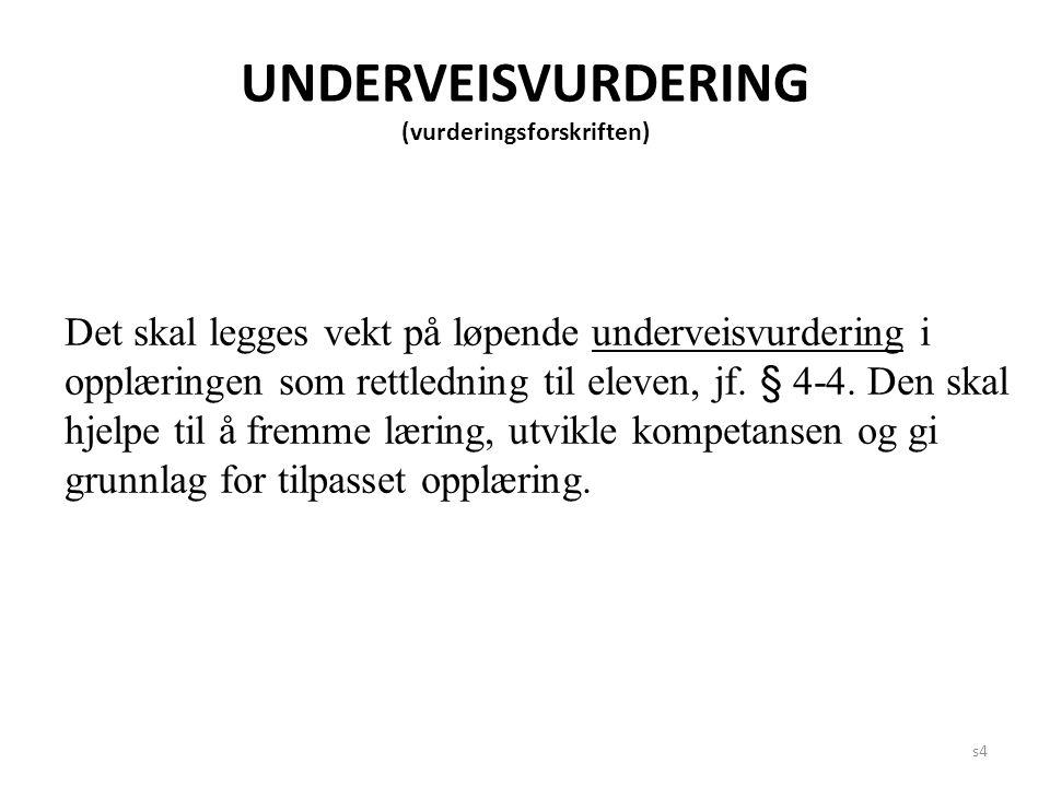 s4 UNDERVEISVURDERING (vurderingsforskriften) Det skal legges vekt på løpende underveisvurdering i opplæringen som rettledning til eleven, jf. § 4-4.