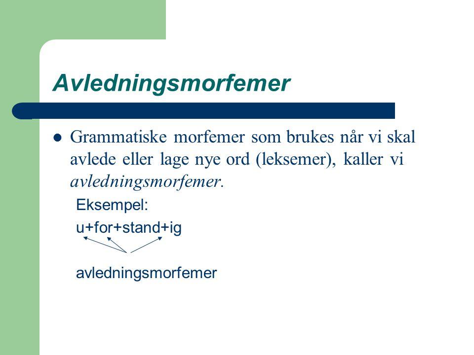 Avledningsmorfemer Grammatiske morfemer som brukes når vi skal avlede eller lage nye ord (leksemer), kaller vi avledningsmorfemer. Eksempel: u+for+sta