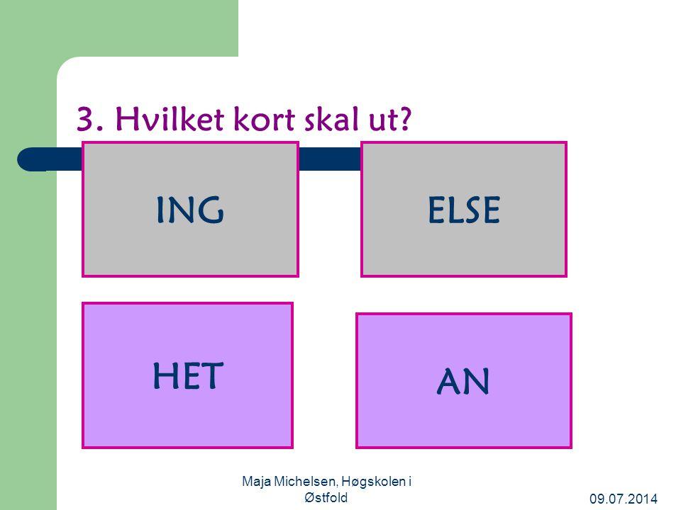 09.07.2014 Maja Michelsen, Høgskolen i Østfold 3. Hvilket kort skal ut? AN HET ELSEING